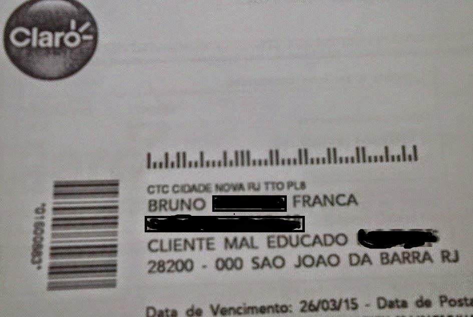 """Cliente da Claro, morador de São João da Barra, é chamado de """"mal educado"""" em fatura"""