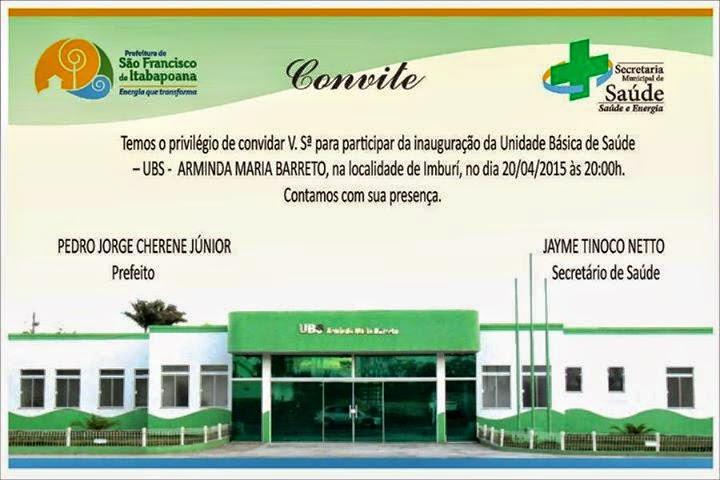 Inauguração de nova Unidade de Saúde nesta segunda (20), em Imburi