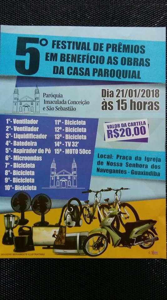 FESTIVAL DE PRÊMIOS para ajudar as obras da casa Paroquial em Guaxindiba.