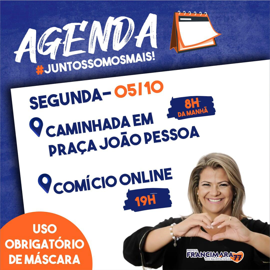 Agenda política para as eleições 2020 em São Francisco de Itabapoana, RJ (material de divulgação), confira.