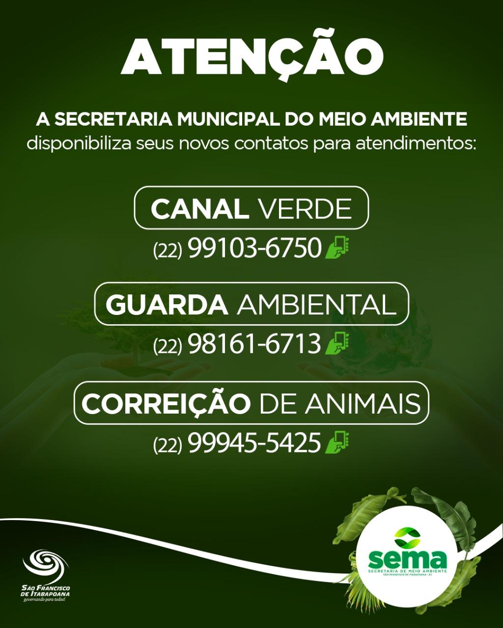 Sema disponibiliza novo contato para o Canal Verde
