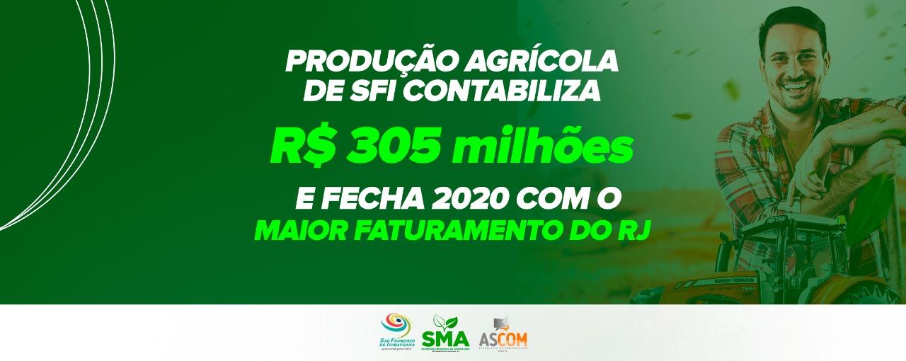Produção Agrícola de SFI contabiliza R$ 305 milhões e fecha 2020 com o maior faturamento do RJ