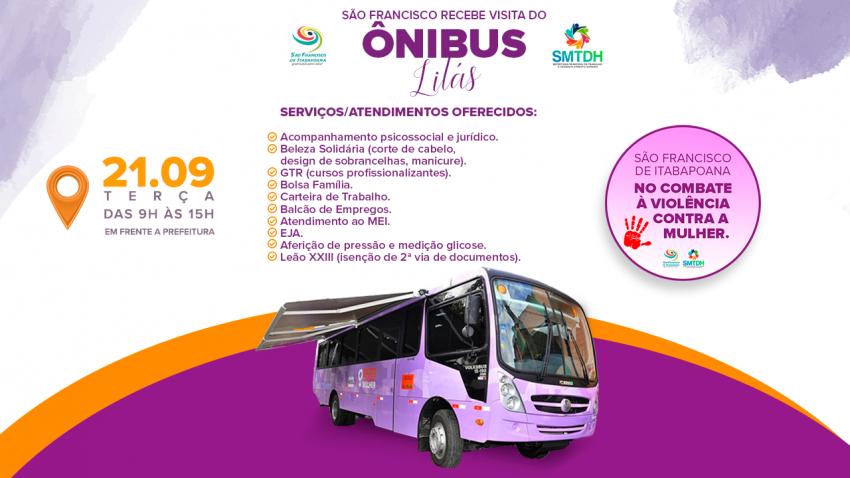 Ônibus Lilás: atendimento especializado para mulheres na próxima terça-feira (21)